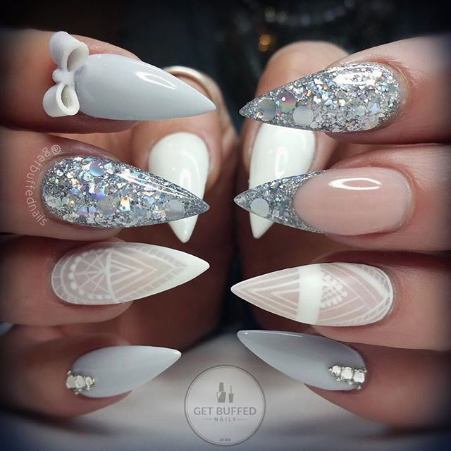 Embellished wedding nail design