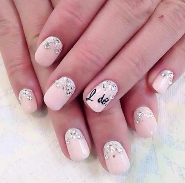 Pink decorated wedding nails
