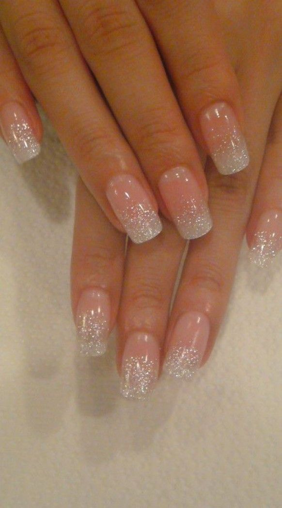 Beautiful wedding nail with glitter