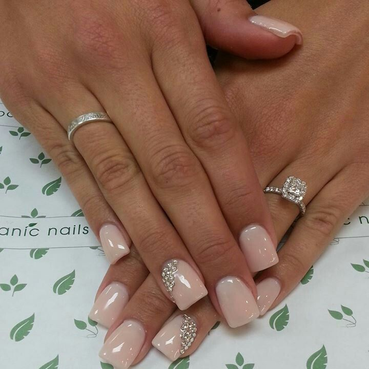 Crystal decorated wedding nails