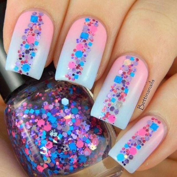 Pink to blue gradient nail design