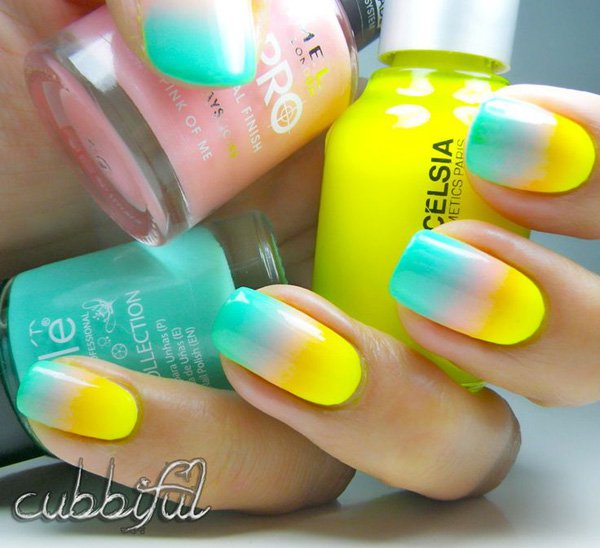 Yellow to green gradient nail design