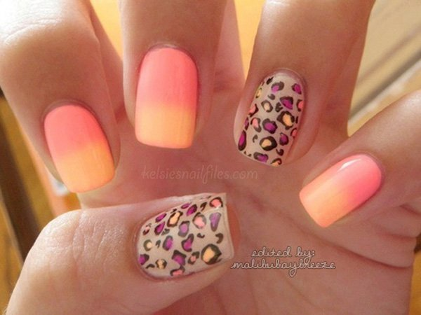 Melon and Yellow Gradient Nail Design