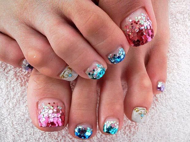 Pink and Blue Glitter Toe Nail Design