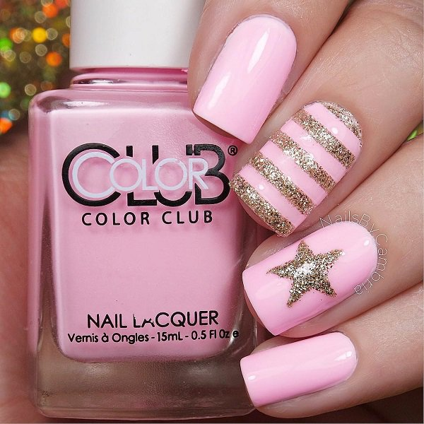 Pink and Gold Glitter Nail Design