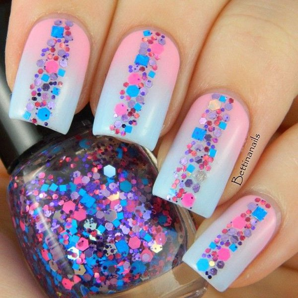 Candy Colored Glitter Nail Design