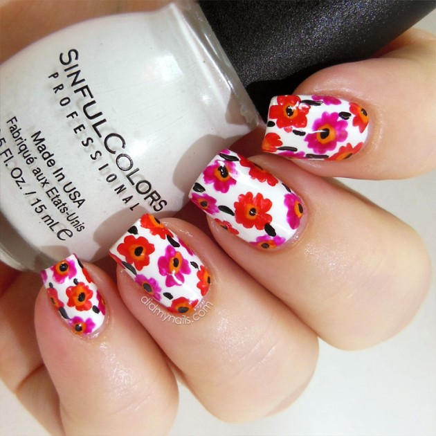 Coral flower nail designs