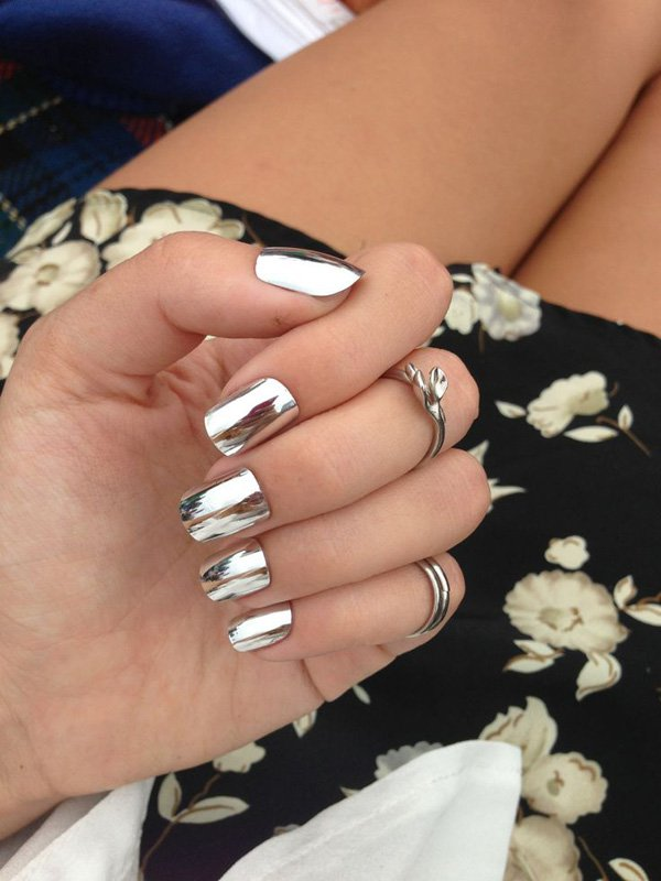 Silver metallic nail design