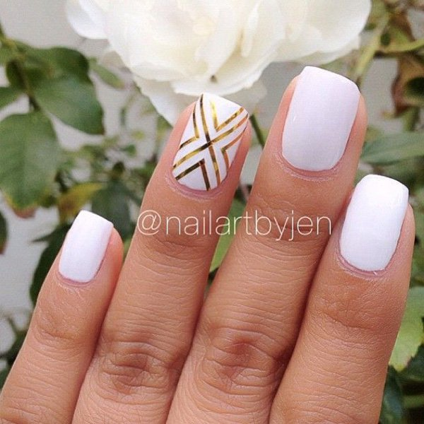 White metallic nail design
