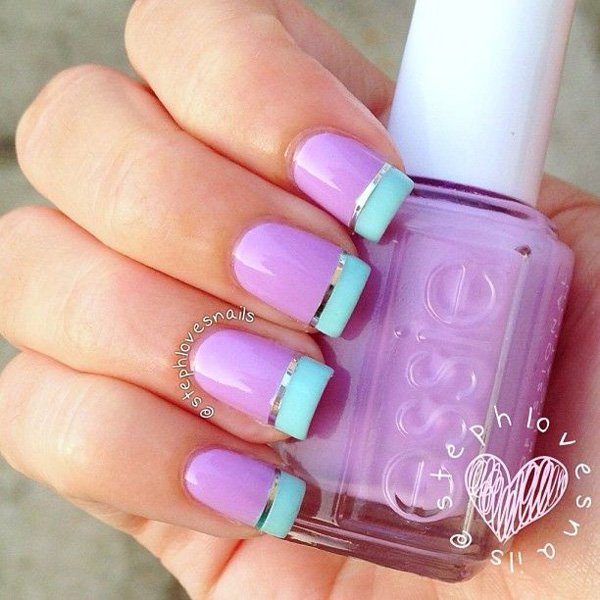 Purple metallic nail design