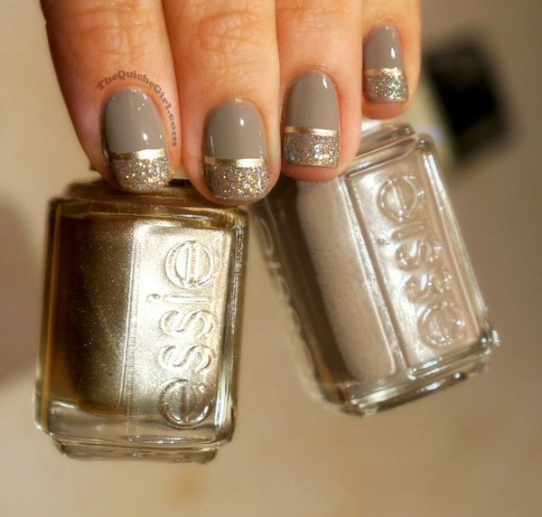 Metallic gray nail design