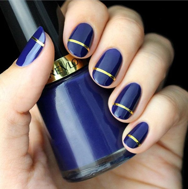 Metallic blue nail design