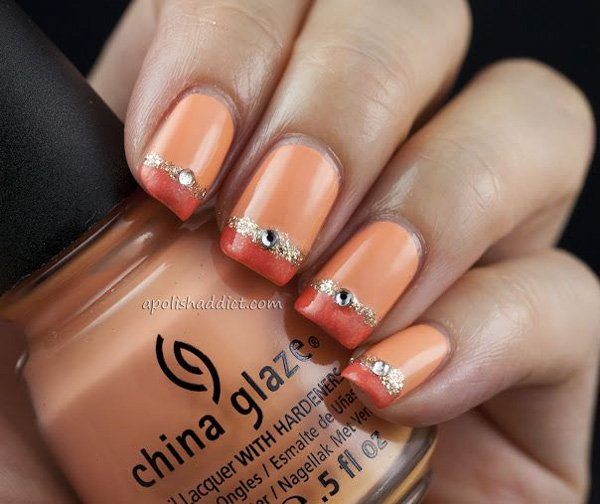 Metallic French Tip Nail Design