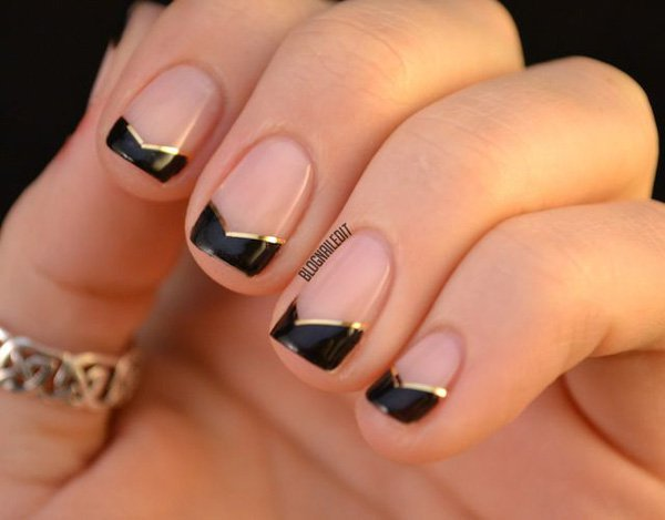 Black french lace nail design
