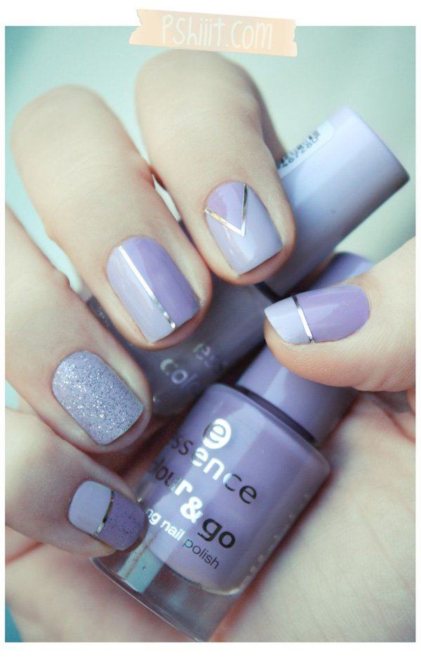 Lavender metallic nail design