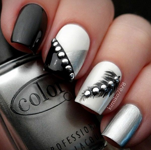 Black-silver nail design for long nails