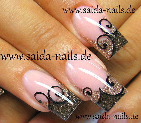 Acrylic nail design for long nails