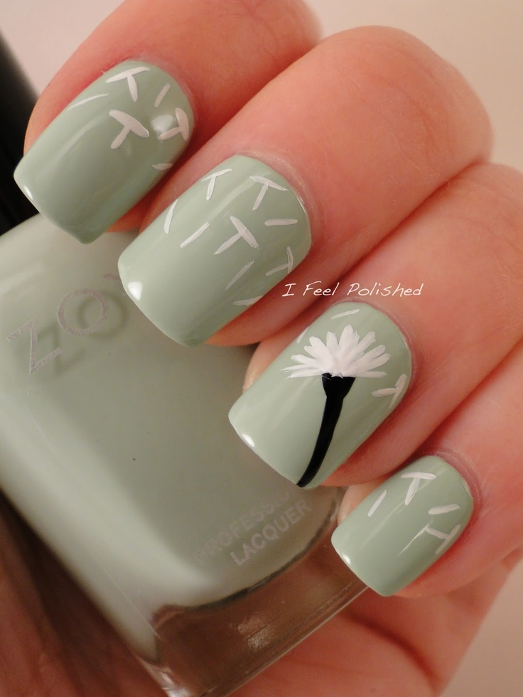 Dandelion nail design for long nails