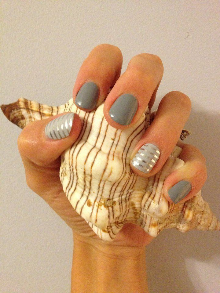 Silver and gray nail designs for long nails