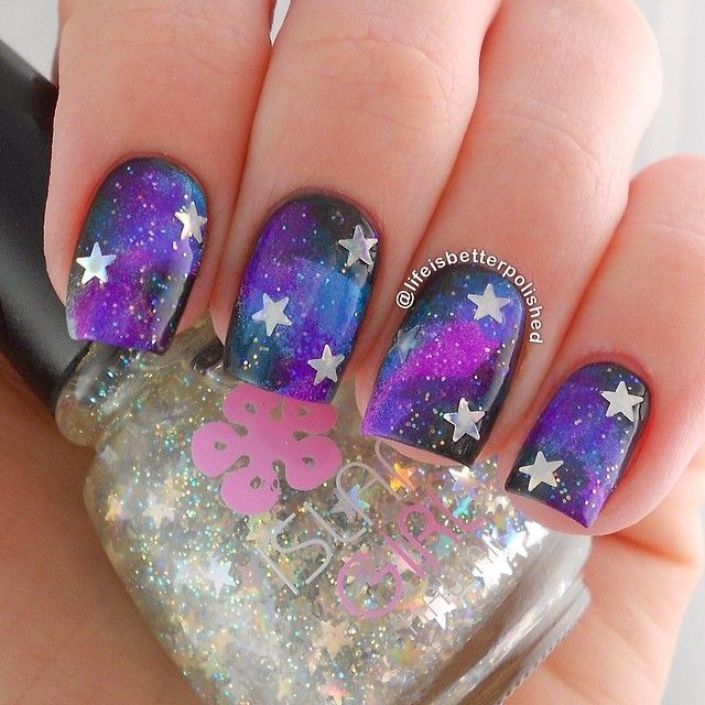 Galaxy nail design for long nails