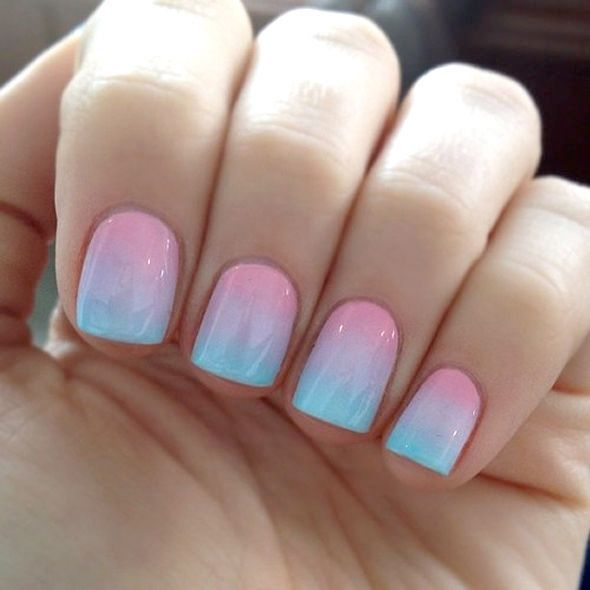 Pink and blue summer nail art design