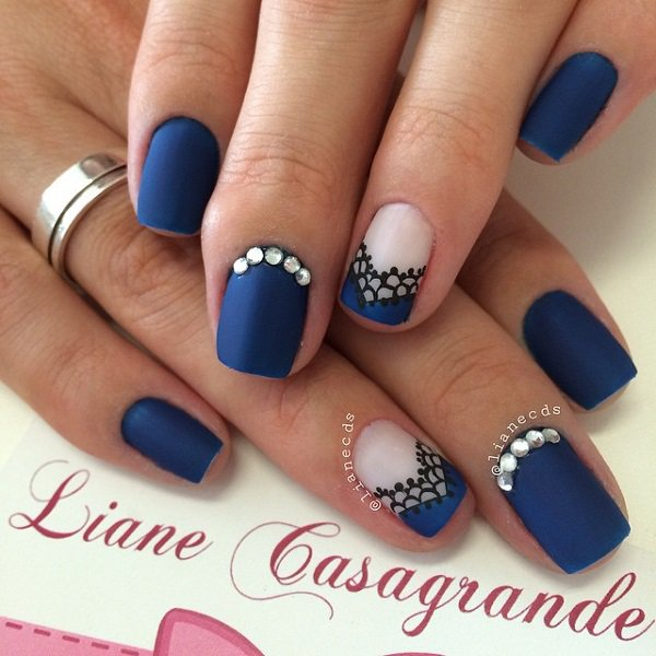 Blue french lace nail design