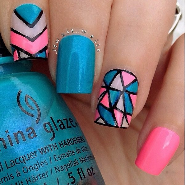 Blue and pink nail designs