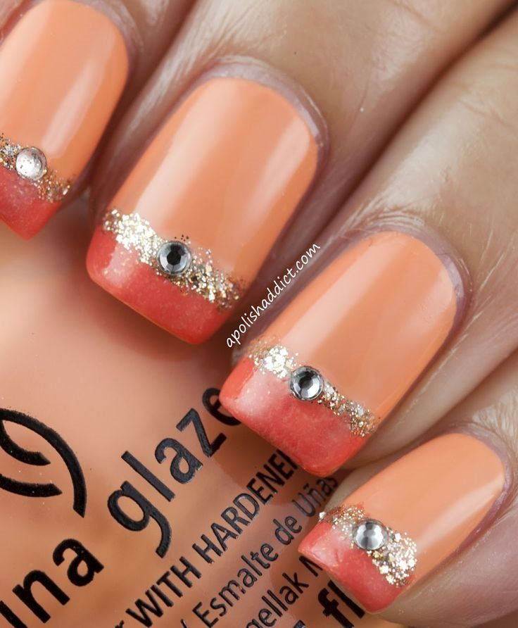 """Coral Nail Design Idea for 2017 """"width ="""" 450"""