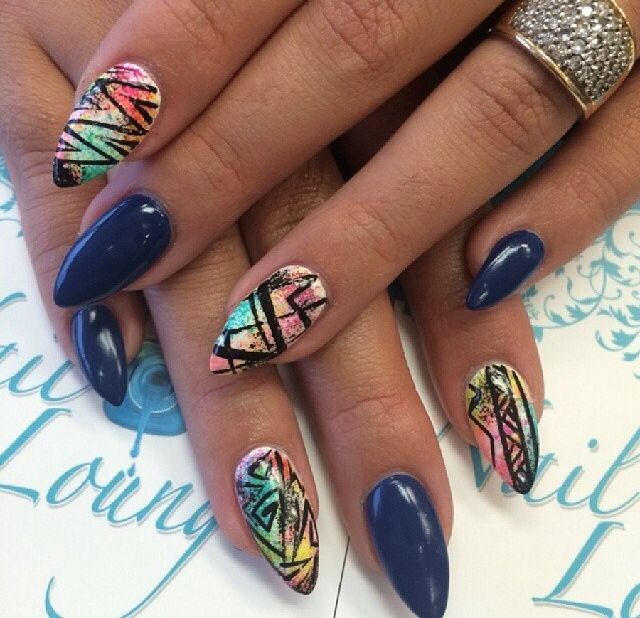 Colorful pointed nails