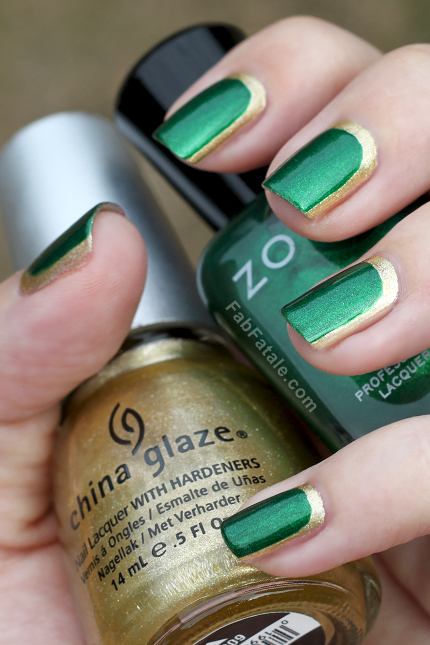 Green and gold nails