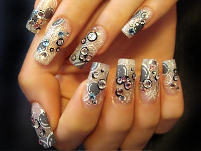 Crystal nails with glitter