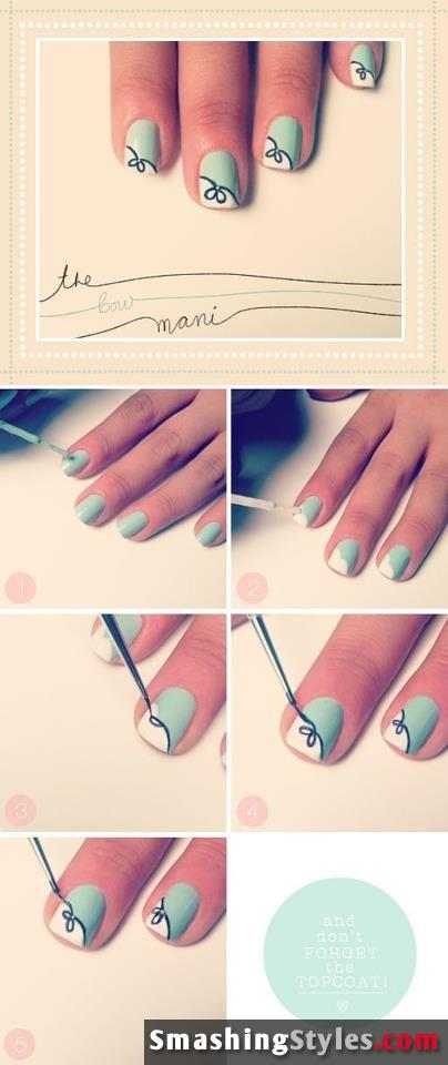 Light green and white nails