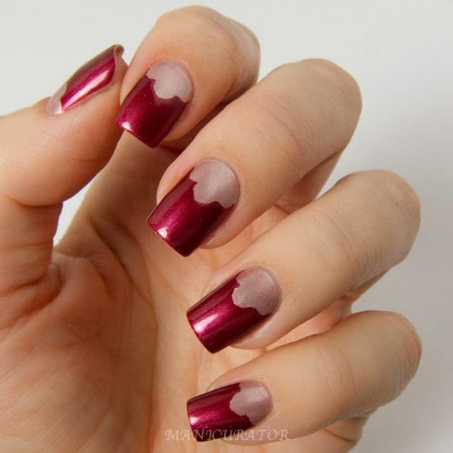 Deep red and silver nails