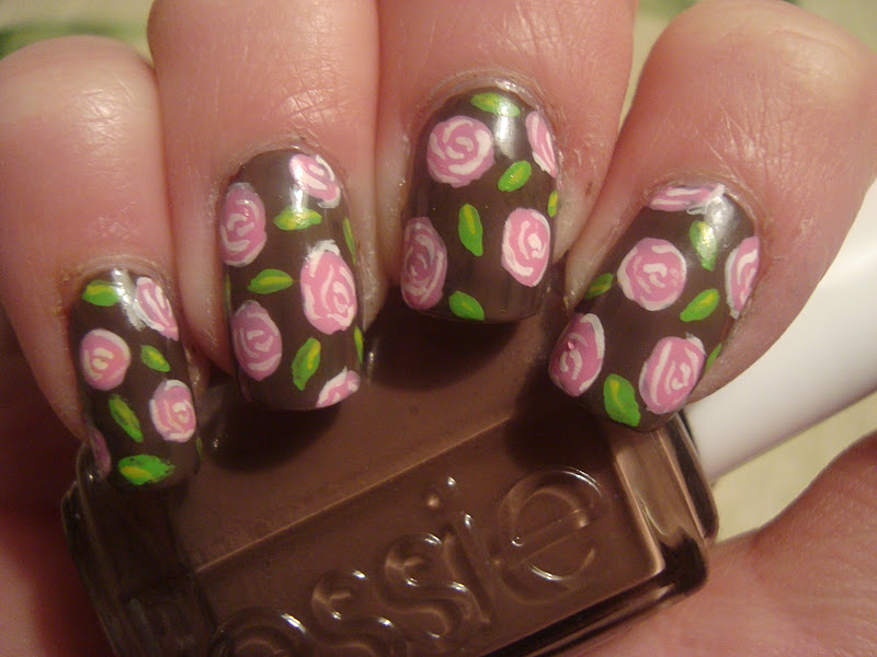 Brown Polish and Pink Rose