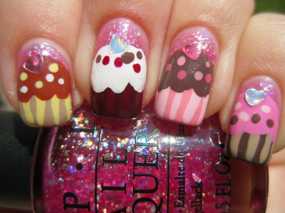 Colorful cupcake nails