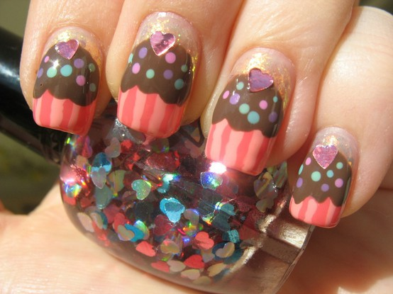 Cupcake nails with sequins
