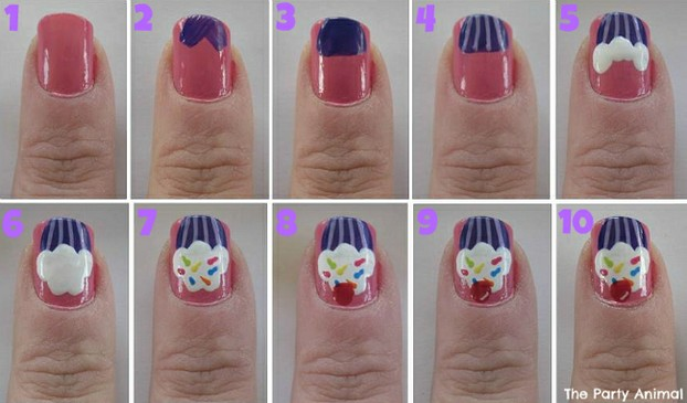 Steps to create cupcake nails