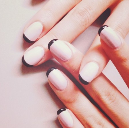 Nice simple nail design black line tips