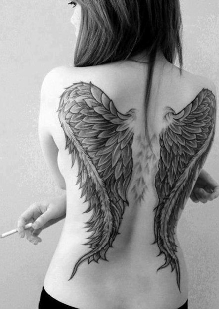 30 angel tattoos designs: angel wings tattoo on the back