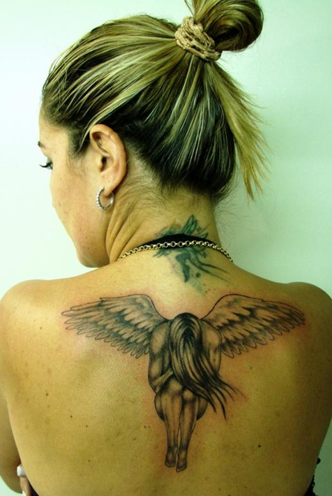 30 angel tattoos for girls: angel tattoo on the neck