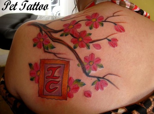 Cute Cherry Tattoo Designs: Cherry Blossom Tattoo on Shoulder for Girls