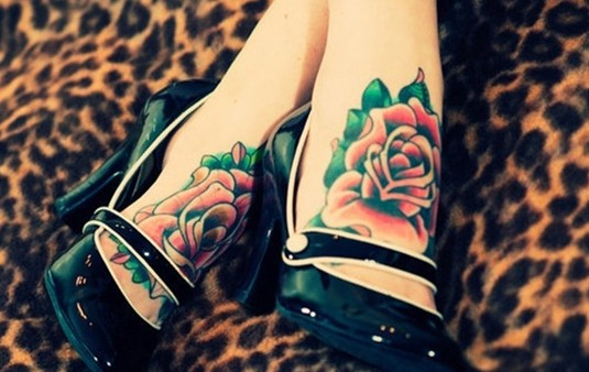 Colored rose tattoo: foot tattoos for girls