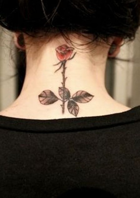 Small rose tattoo for the neck: cute tattoos