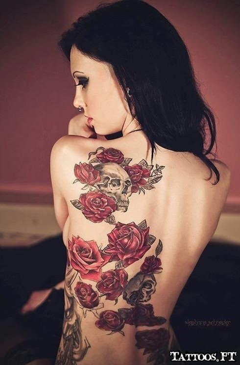 Roses and skull tattoo for women: back tattoos