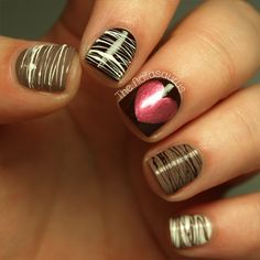 Chocolate nail design with pink heart