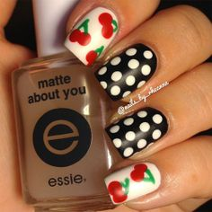 Cherry nail design with polka dots