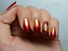 Red and gold Iron Man nails