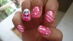 Pig nails with stripes
