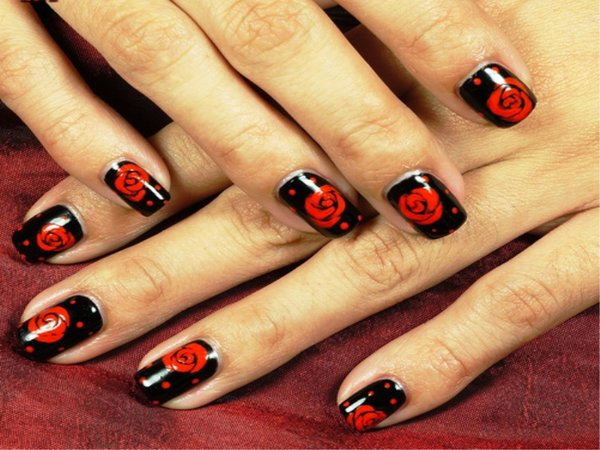Black nails with red roses and dots
