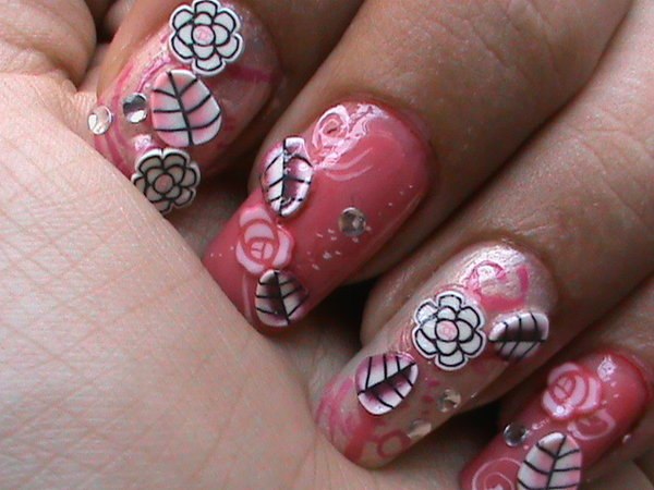 Pink nails with roses, rhinestones and leaves